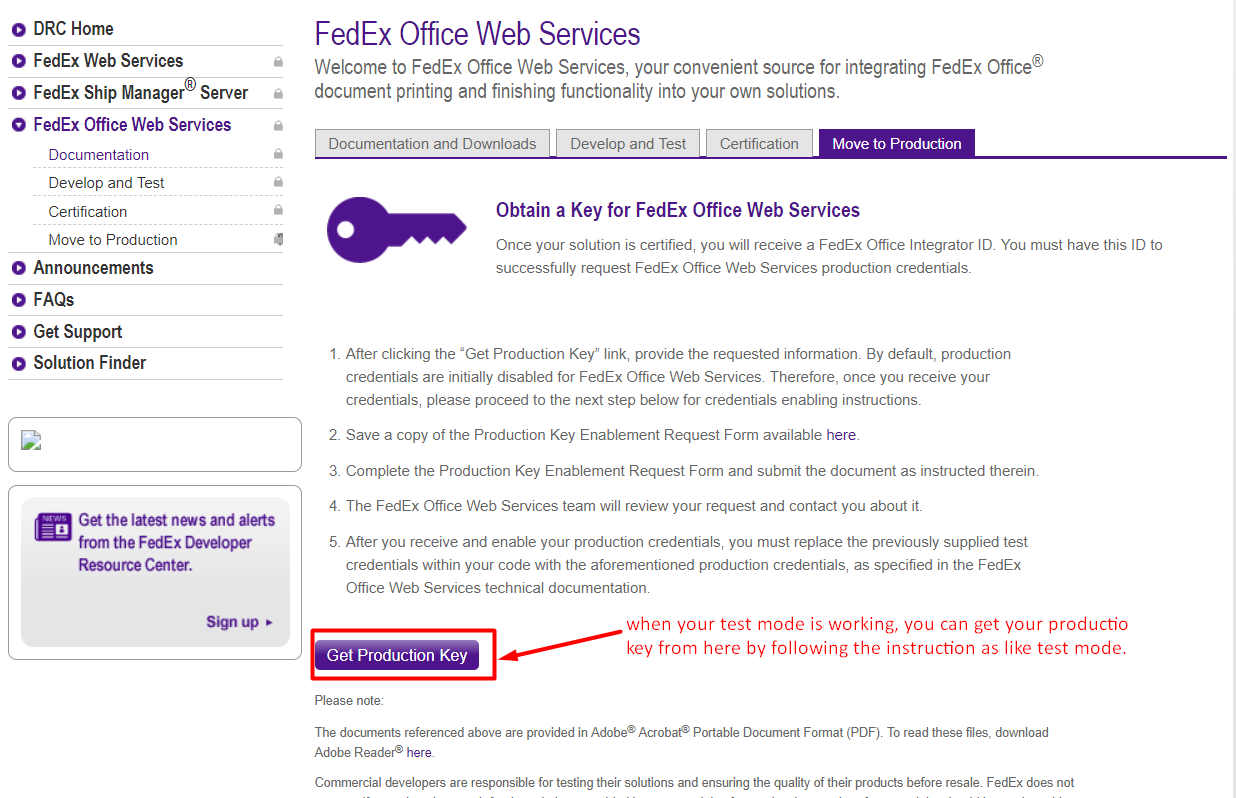 FedEx Production Setup