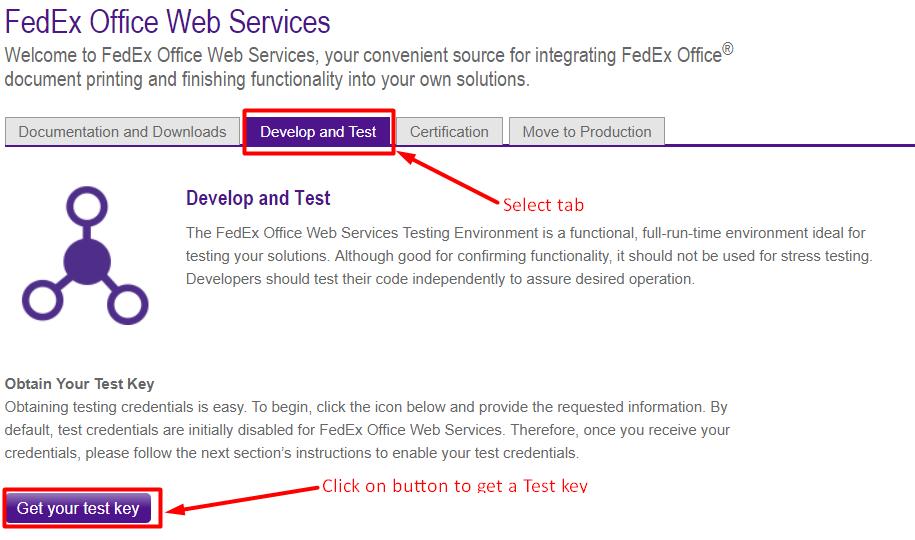 FedEX Test Key
