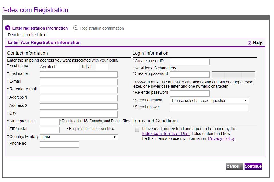 Login and registration on Fedex